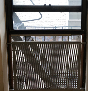 A NYC high-rise window with a barrier installed to prevent an Italian Greyhound from falling off the ledge.